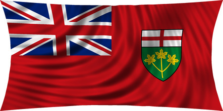 provincial: Ontarian provincial flag, patriotic element and official symbol. Canada banner and background. Correct colors. Flag of the Canadian province of Ontario waving, isolated on white, 3d illustration Stock Photo