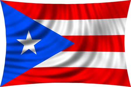 puerto rican flag: Puerto Rican national official flag. Patriotic symbol, banner, element, background. Correct colors. Flag of Puerto Rico waving, isolated on white, 3d illustration