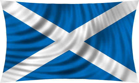 Scottish national official flag. Patriotic symbol, banner, element, background. Correct colors. Flag of Scotland waving, isolated on white, 3d illustration