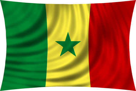 senegalese: Senegalese national official flag. African patriotic symbol, banner, element, background. Correct colors. Flag of Senegal waving, isolated on white, 3d illustration Stock Photo