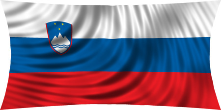 Slovenian national official flag. Patriotic symbol, banner, element, background. Correct colors. Flag of Slovenia waving, isolated on white, 3d illustration