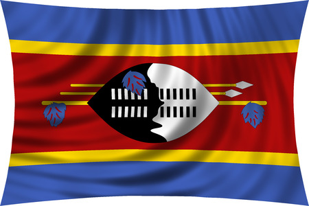 Swazi national official flag. Patriotic symbol, banner, element, background. Correct colors. Flag of Swaziland waving, isolated on white, 3d illustration Stock Photo