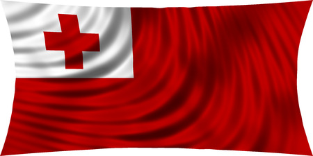Tongan national official flag. Patriotic symbol, banner, element, background. Correct colors. Flag of Tonga waving, isolated on white, 3d illustration