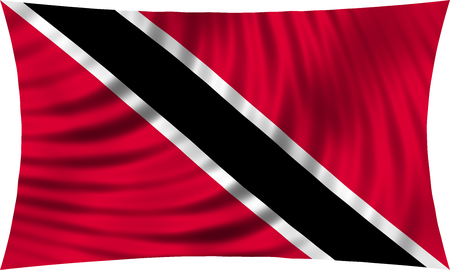 trinidadian: Trinidadian and Tobagonian national official flag. Patriotic symbol, banner, element, background. Correct colors. Flag of Trinidad and Tobago waving, isolated on white, 3d illustration