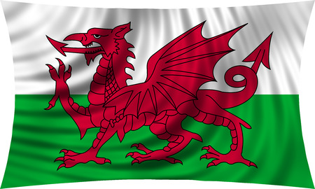 Welsh national official flag. Patriotic symbol, banner, element, background. Correct colors. Flag of Wales waving, isolated on white, 3d illustration