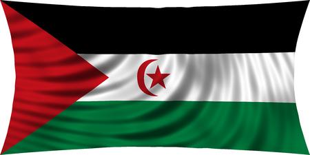 sahrawi arab democratic republic: Sahrawi national official flag. Western Sahara patriotic symbol. SADR banner, element, background. Correct colors. Flag of Sahrawi Arab Democratic Republic waving, isolated on white, 3d illustration