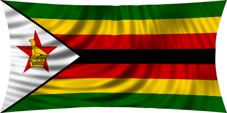 Zimbabwean national official flag. African patriotic symbol, banner, element, background. Correct colors. Flag of Zimbabwe waving, isolated on white, 3d illustration