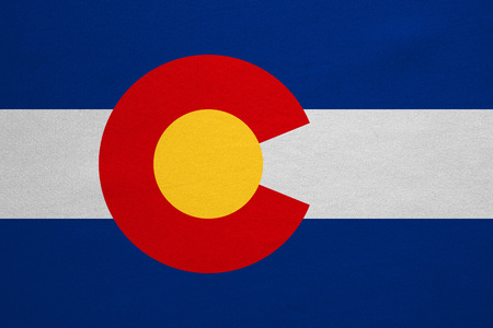 Flag of the US state of Colorado. American patriotic element. USA banner. United States of America symbol. Colorado official flag with real detailed fabric texture, illustration. Accurate size, colors