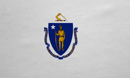 us sizes: Flag of the US state of Massachusetts. American patriotic element. USA banner. United States of America symbol. Massachusettsan official flag detailed fabric texture illustration. Accurate size, color