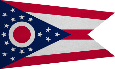 us sizes: Flag of the US state of Ohio. American patriotic element. USA banner. United States of America symbol. Ohioan official flag on white, real detailed fabric texture, illustration. Accurate size, colors