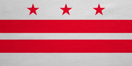 us sizes: Flag of the District of Columbia. American patriotic element. USA banner. United States of America symbol. Washington, D.C. official flag, detailed fabric texture, illustration. Accurate size, colors