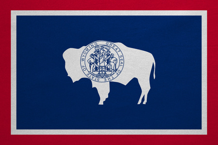 us sizes: Flag of the US state of Wyoming. American patriotic element. USA banner. United States of America symbol. Wyomingite official flag with real detailed fabric texture, illustration. Accurate size, color