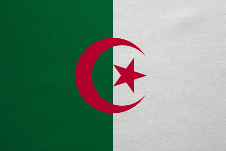 national identity: Algerian national official flag. African patriotic symbol, banner, element, background. Correct colors. Flag of Algeria with real detailed fabric texture, accurate size, illustration