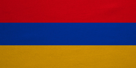 armenian: Armenian national official flag. Patriotic symbol, banner, element, background. Correct colors. Flag of Armenia with real detailed fabric texture, accurate size, illustration