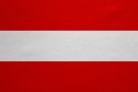 austrian: Austrian national official flag. Patriotic symbol, banner, element, background. Correct colors. Flag of Austria with real detailed fabric texture, accurate size, illustration Stock Photo