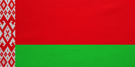 Belarusian national official flag. Patriotic symbol, banner, element, background. Correct colors. Flag of Belarus with real detailed fabric texture, accurate size, illustration Stock Photo