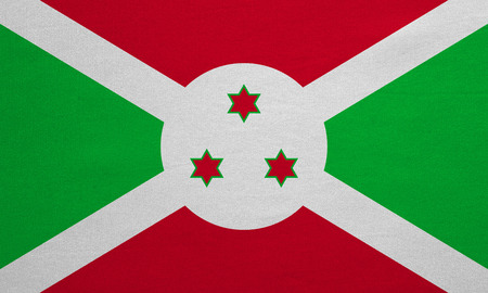 Burundian national official flag. African patriotic symbol, banner, element, background. Correct colors. Flag of Burundi with real detailed fabric texture, accurate size, illustration Stock Photo