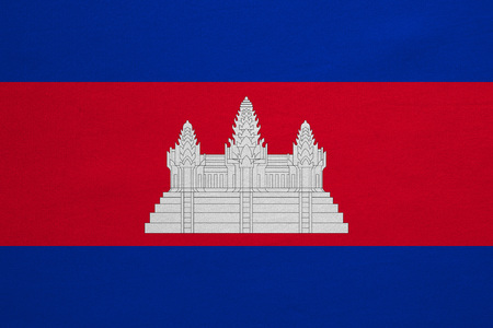 cambodian: Cambodian national official flag. Patriotic symbol, banner, element, background. Correct colors. Flag of Cambodia with real detailed fabric texture, accurate size, illustration Stock Photo