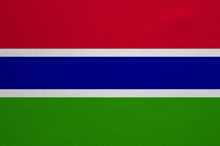 Gambian national official flag. African patriotic symbol, banner, element, background. Correct colors. Flag of the Gambia with real detailed fabric texture, accurate size, illustration Stock Photo