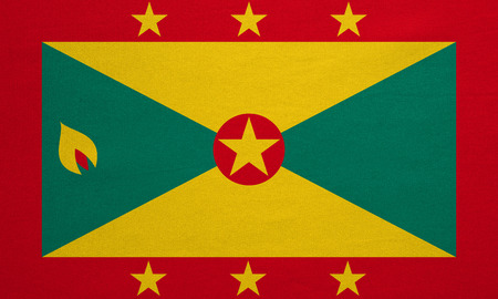 grenada: Grenadian national official flag. Patriotic symbol, banner, element, background. Correct colors. Flag of Grenada with real detailed fabric texture, accurate size, illustration Stock Photo