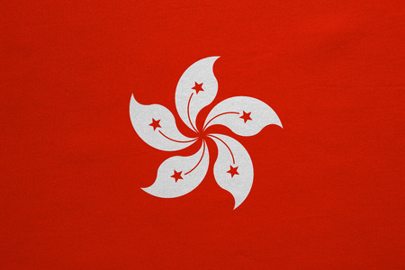prc: Hong Kongese official flag. Patriotic chinese symbol, banner, element, background. Hong Kong is special region of PRC. Correct colors. Flag of Hong Kong, fabric texture, accurate size, illustration