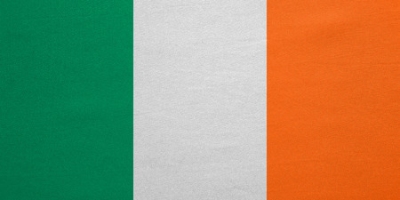 irish banner: Irish national official flag. Patriotic symbol, banner, element, background. Correct colors. Flag of Ireland with real detailed fabric texture, accurate size, illustration