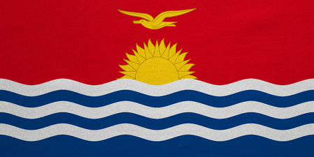 Kiribati national official flag. Patriotic symbol, banner, element, background. Correct colors. Flag of Kiribati with real detailed fabric texture, accurate size, illustration