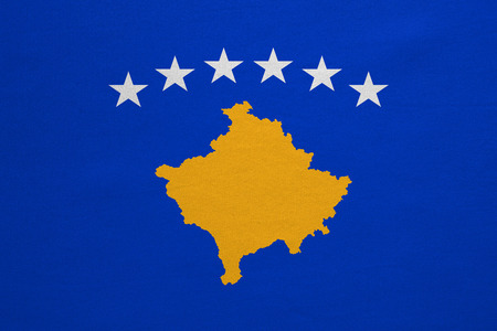 Kosovan national official flag. Patriotic symbol, banner, element, background. Correct colors. Flag of Kosovo with real detailed fabric texture, accurate size, illustration