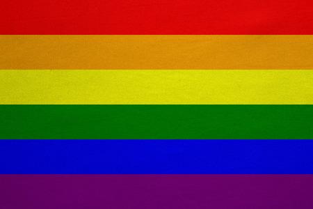 虹色のゲイプライド旗。LGBT 運動のシンボルです。ゲイ バナー、要素、背景。正しい色。実際詳しい生地のテクスチャを正確なサイズ、イラストの 写真素材