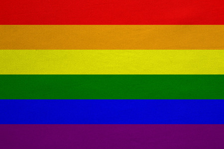 Rainbow gay pride flag. Symbol of LGBT movement. Gay banner, element, background. Correct colors. Rainbow flag with real detailed fabric texture, accurate size, illustration