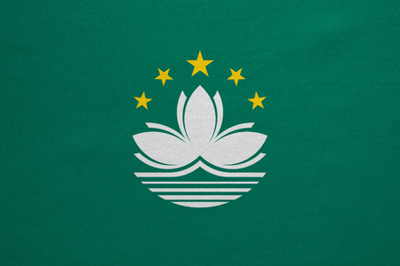 prc: Macanese official flag. Patriotic chinese symbol, banner, element, background. Macau is special region of PRC. Correct colors. Flag of Macau, real detailed fabric texture, accurate size, illustration