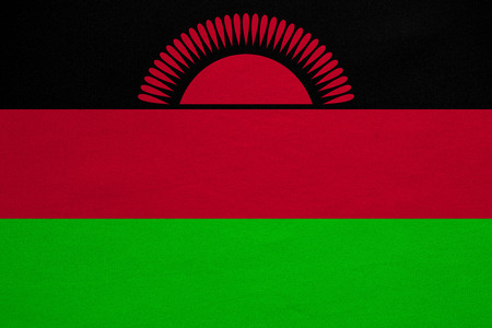 malawian: Malawian national official flag. African patriotic symbol, banner, element, background. Correct colors. Flag of Malawi with real detailed fabric texture, accurate size, illustration