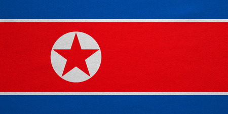korean national: North Korean national official flag. Patriotic DPRK symbol, banner, element, background. Correct colors. Flag of North Korea with real detailed fabric texture, accurate size, illustration