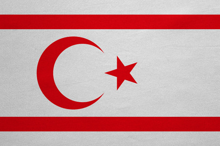 Northern Cyprus national official flag. TRNC patriotic symbol, banner, element, background. Correct colors. Flag of Turkish Republic of Northern Cyprus real fabric texture, accurate size, illustration Stock Photo