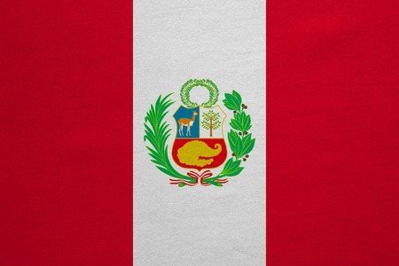 peruvian: Peruvian national official flag. Patriotic symbol, banner, element, background. Correct colors. Flag of Peru with real detailed fabric texture, accurate size, illustration Stock Photo