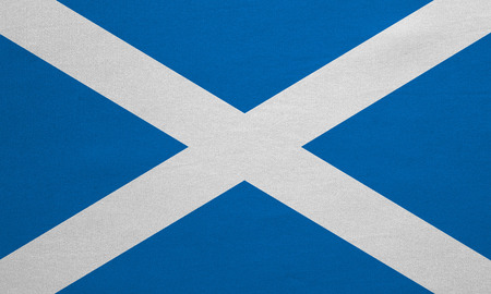 Scottish national official flag. Patriotic symbol, banner, element, background. Correct colors. Flag of Scotland with real detailed fabric texture, accurate size, illustration