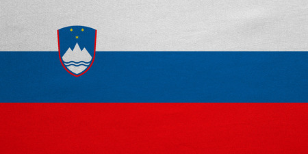 slovenian: Slovenian national official flag. Patriotic symbol, banner, element, background. Correct colors. Flag of Slovenia with real detailed fabric texture, accurate size, illustration