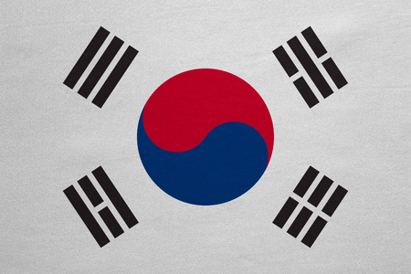 korean national: South Korean national official flag. Patriotic symbol, banner, element, background. Correct colors. Flag of South Korea with real detailed fabric texture, accurate size, illustration