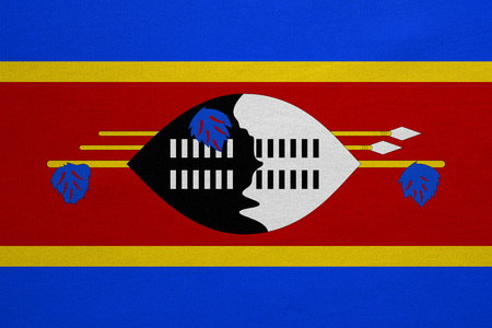 Swazi national official flag. Patriotic symbol, banner, element, background. Correct colors. Flag of Swaziland with real detailed fabric texture, accurate size, illustration
