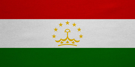 tajikistan: Tajikistani national official flag. Patriotic symbol, banner, element, background. Correct colors. Flag of Tajikistan with real detailed fabric texture, accurate size, illustration