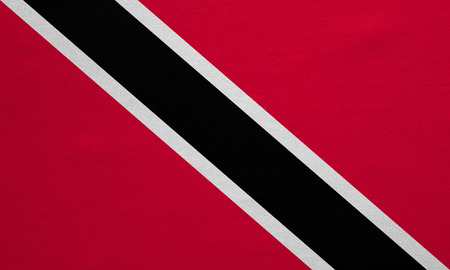 trinidadian: Trinidadian and Tobagonian national official flag. Patriotic symbol, banner, element, background. Correct colors. Flag of Trinidad and Tobago, real detailed fabric texture, accurate size, illustration Stock Photo