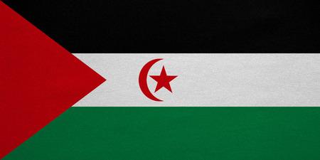 sahrawi arab democratic republic: Sahrawi national official flag. Western Sahara patriotic symbol. SADR banner, element, background. Correct colors. Flag of Sahrawi Arab Democratic Republic, fabric texture, accurate size, illustration