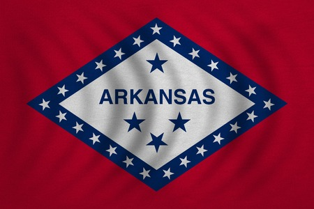 us sizes: Flag of the US state of Arkansas. American patriotic element. USA banner. United States of America symbol. Arkansan official flag wavy with detailed fabric texture, illustration. Accurate size, colors Stock Photo