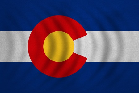 Flag of the US state of Colorado. American patriotic element. USA banner. United States of America symbol. Colorado official flag wavy with detailed fabric texture, illustration. Accurate size, colors