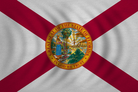 floridian: Flag of the US state of Florida. American patriotic element. USA banner. United States of America symbol. Floridian official flag wavy with detailed fabric texture, illustration. Accurate size, colors Stock Photo