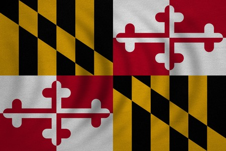 us sizes: Flag of the US state of Maryland. American patriotic element. USA banner. United States of America symbol. Maryland official flag wavy real detailed fabric texture, illustration. Accurate size, colors