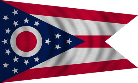 us sizes: Flag of the US state of Ohio. American patriotic element. USA banner. United States of America symbol. Ohioan official flag wavy on white, detailed fabric texture, illustration. Accurate size, colors