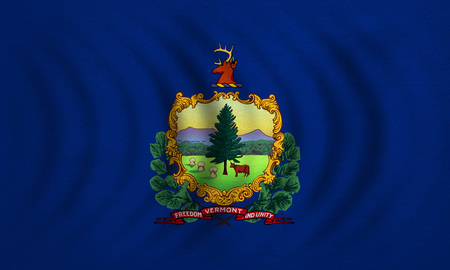 us sizes: Flag of the US state of Vermont. American patriotic element. USA banner. United States of America symbol. Vermonter official flag wavy real detailed fabric texture, illustration. Accurate size, colors