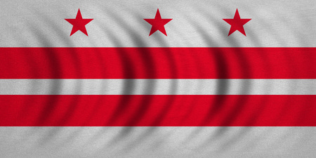 district of columbia: Flag of the District of Columbia. American patriotic element. USA banner. United States of America symbol. Washington, D.C. official flag wavy, real fabric texture, illustration. Accurate size, colors Stock Photo