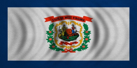 Flag of the US state of West Virginia. American patriotic element. USA banner. United States of America symbol. West Virginian official flag wavy real fabric texture, illustration. Accurate size color Stock Photo